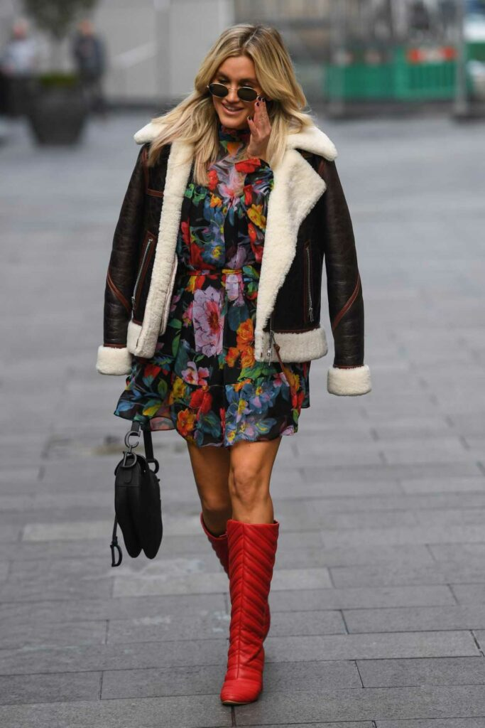 Ashley Roberts in a Floral Mini Dress