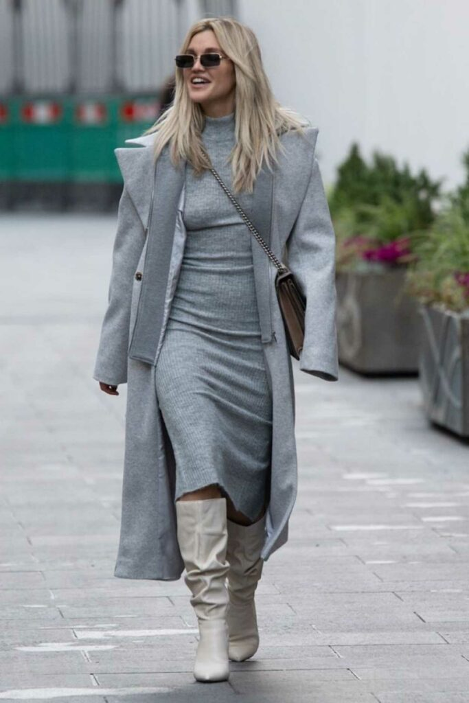 Ashley Roberts in a Grey Coat