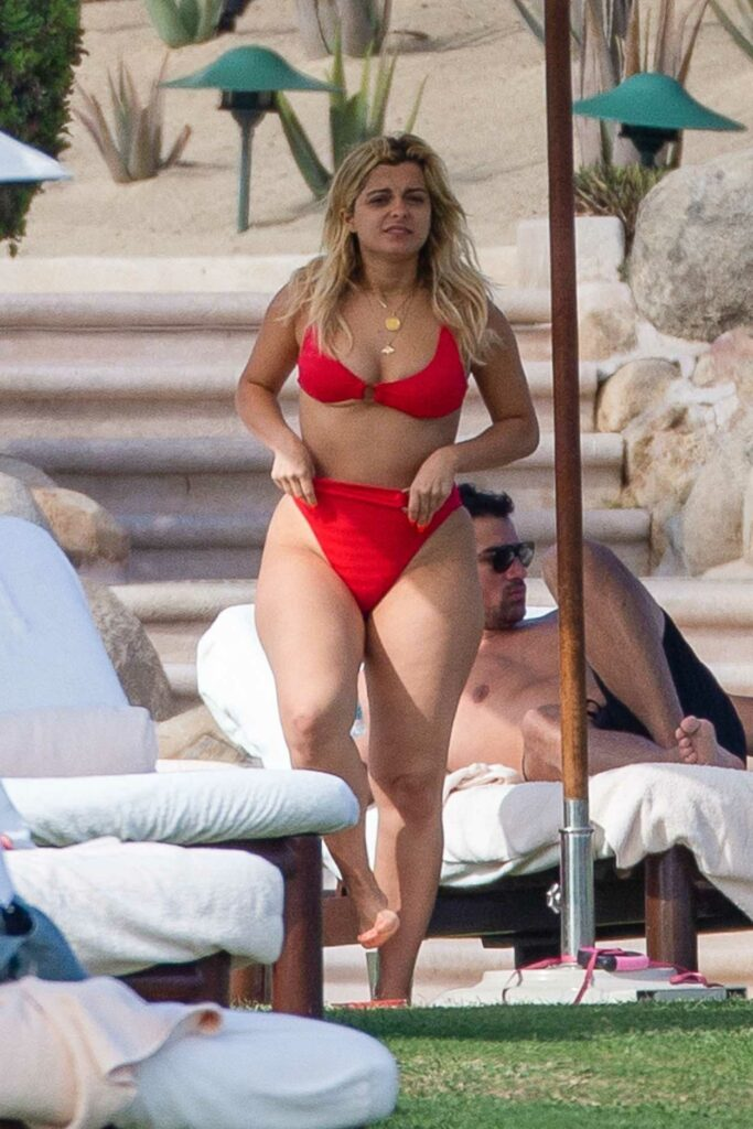 Bebe Rexha in a Red Bikini