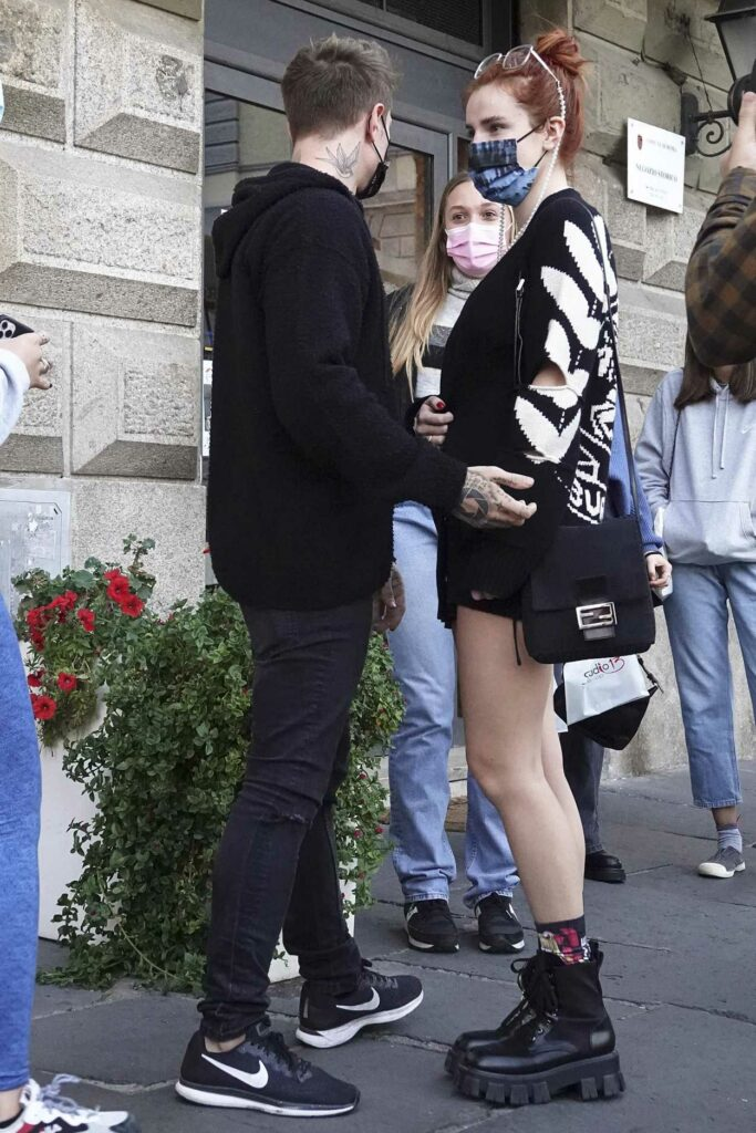 Bella Thorne in a Protective Mask