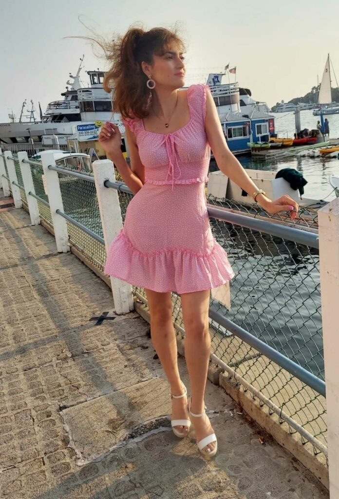 Blanca Blanco in a Pink Dress