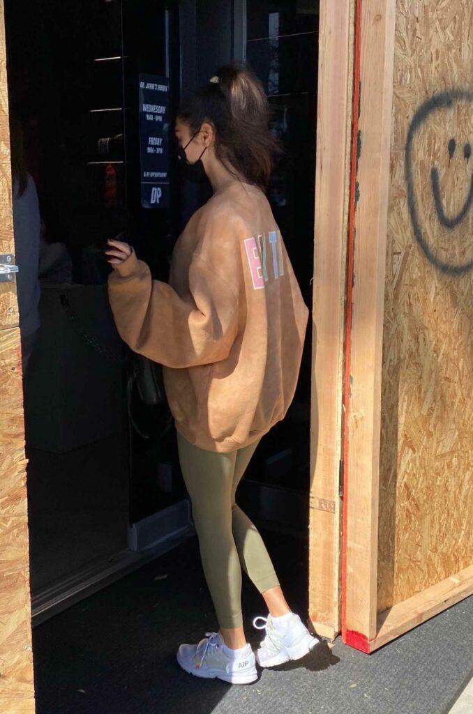 Chantel Jeffries in a Beige Sweatshirt