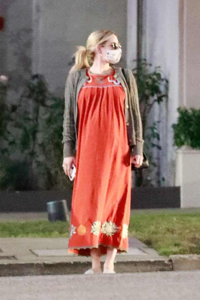 Emma Roberts in a Red Maxi Dress