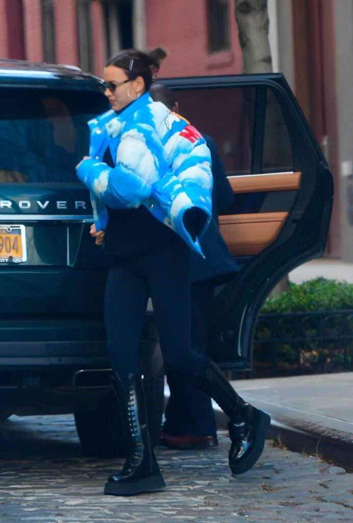 Irina Shayk in a Blue Puffer Jacket