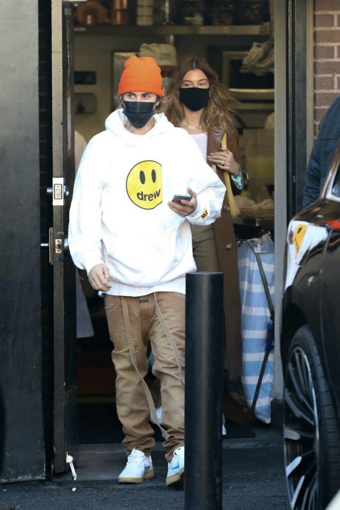Justin Bieber in a White Hoodie