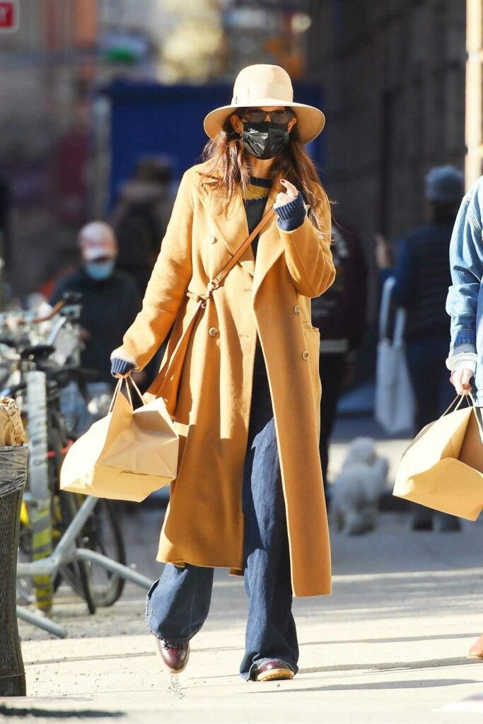 Katie Holmes in a Yellow Coat