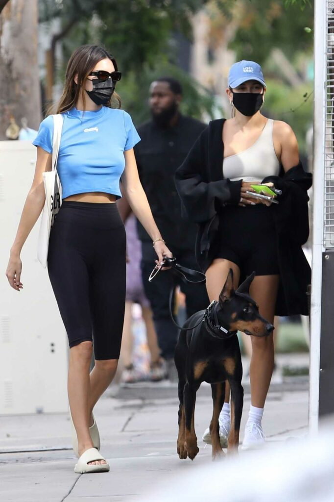 Kendall Jenner in a Black Protective Mask