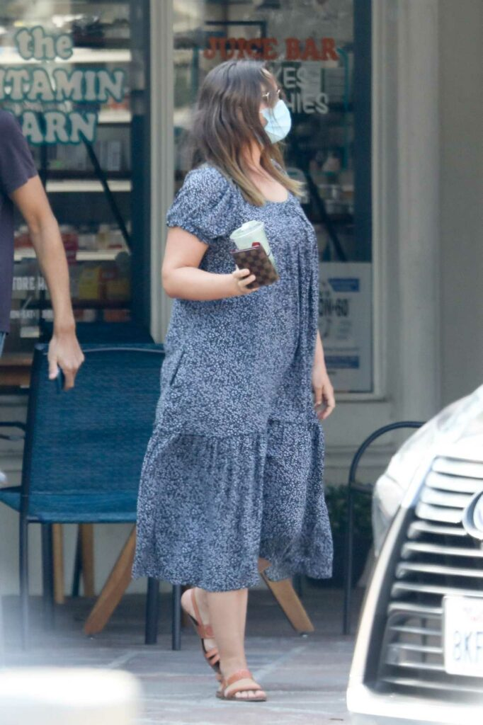 Leighton Meester in a Blue Floral Dress