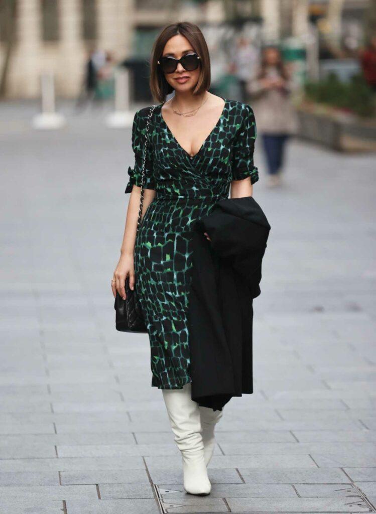 Myleene Klass in a Green Print Dress