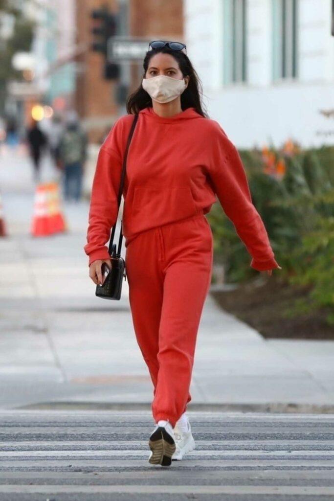 Olivia Munn in a Red Sweatsuit