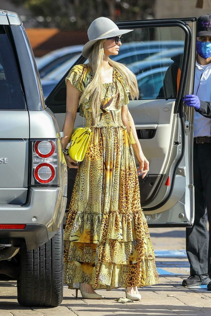 Paris Hilton in a Yellow Animal Print Dress