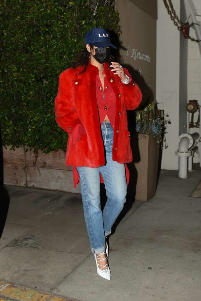 Rihanna in a Red Fur Jacket