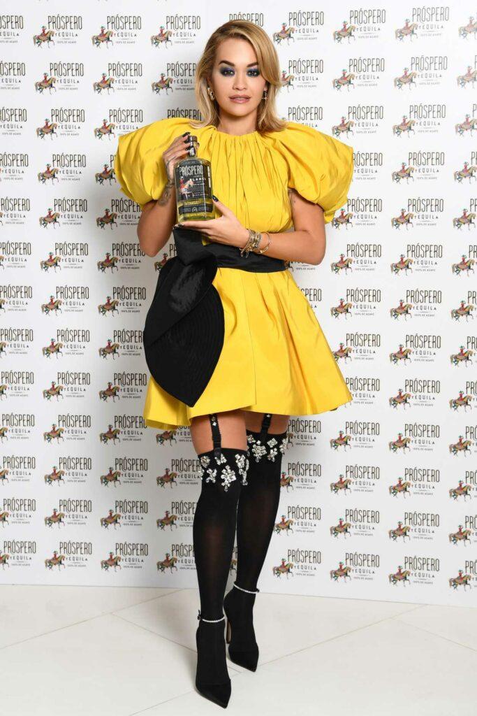 Rita Ora in a Yellow Dress