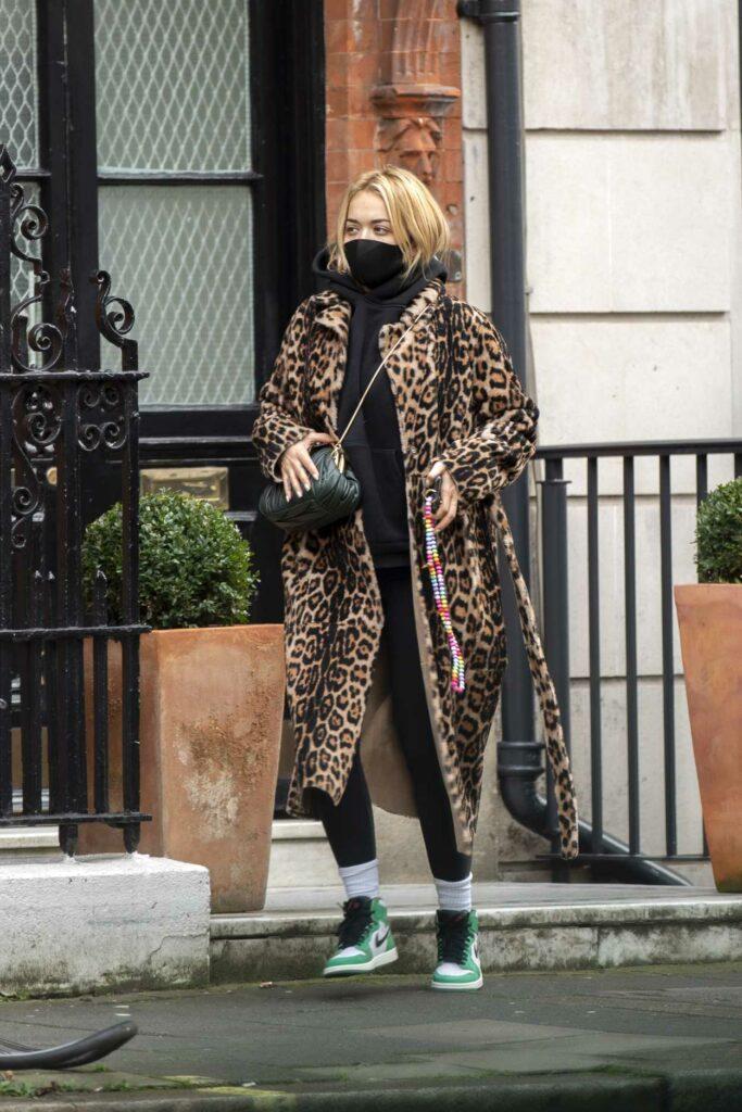 Rita Ora in an Animal Print Fur Coat
