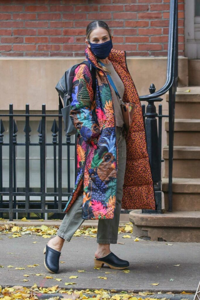 Sarah Jessica Parker in a Colorful Puffer Coat