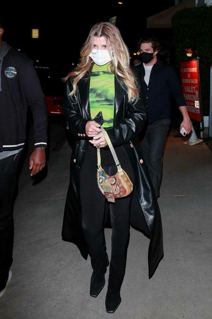 Sofia Richie in a Black Coat