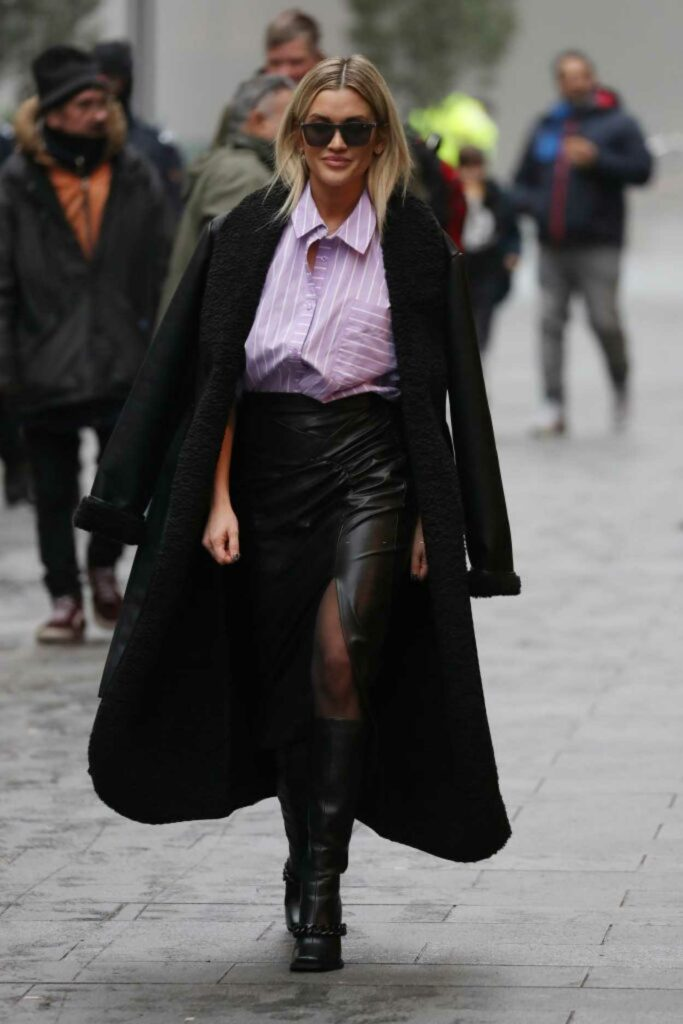 Ashley Roberts in a Black Coat