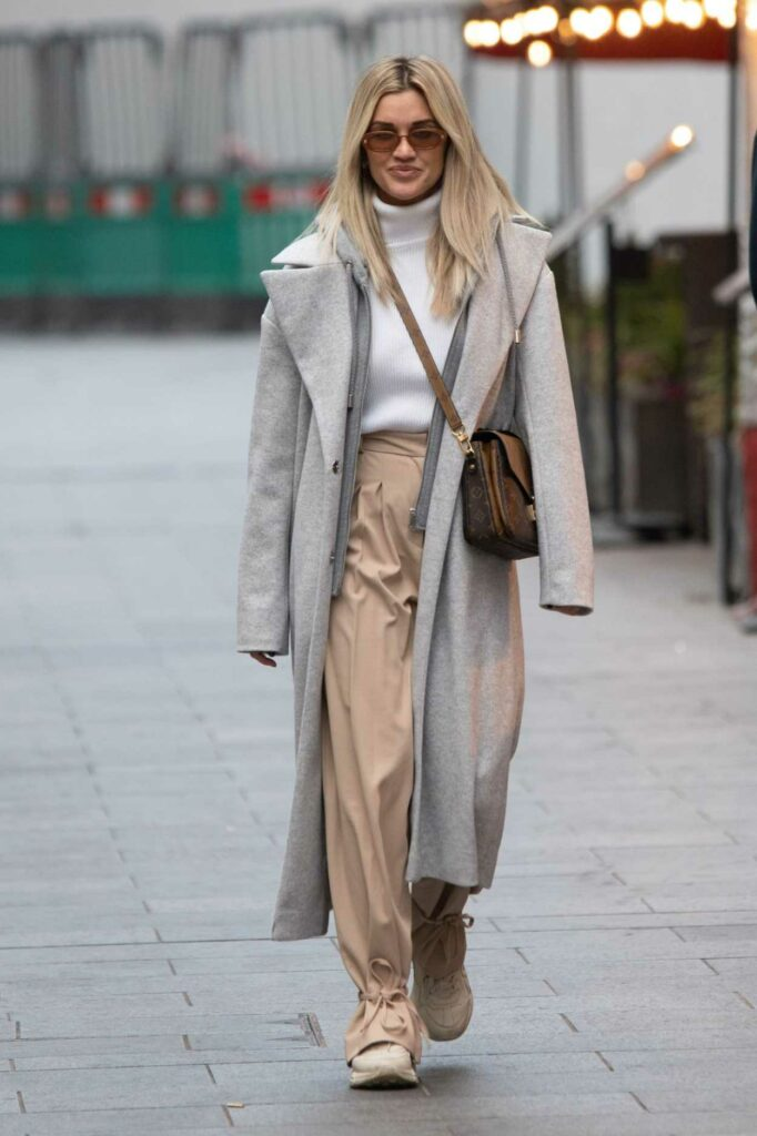 Ashley Roberts in a Grey Coat