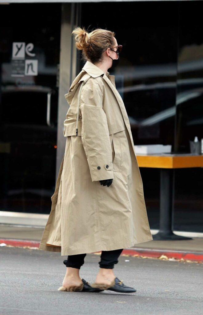 Ashley Tisdale in Beige Trench Coat