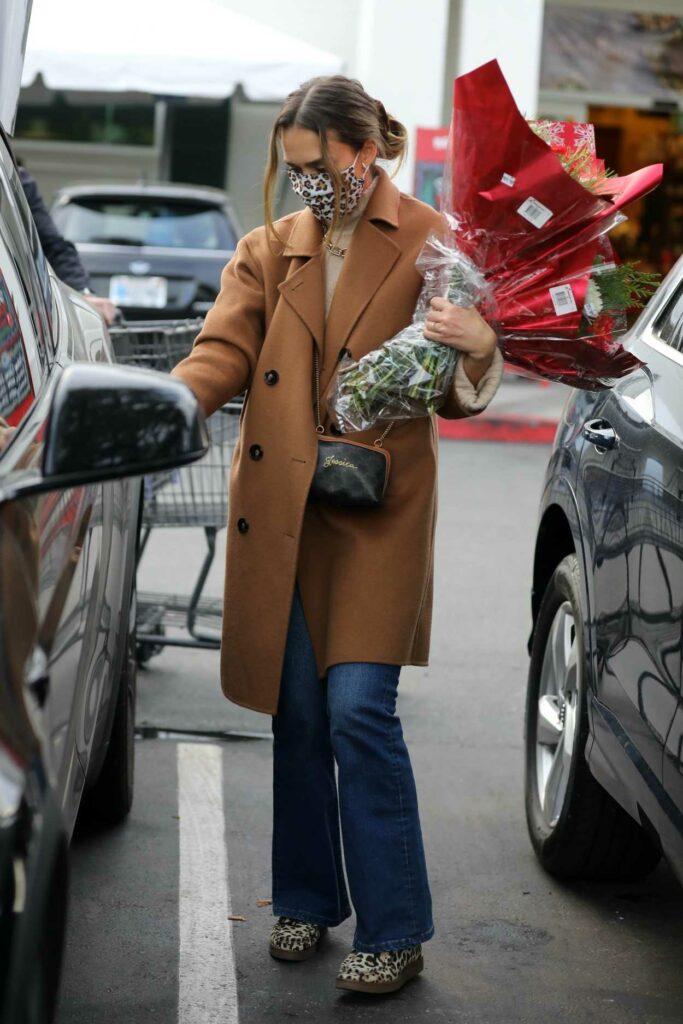 Jessica Alba in a Tan Coat