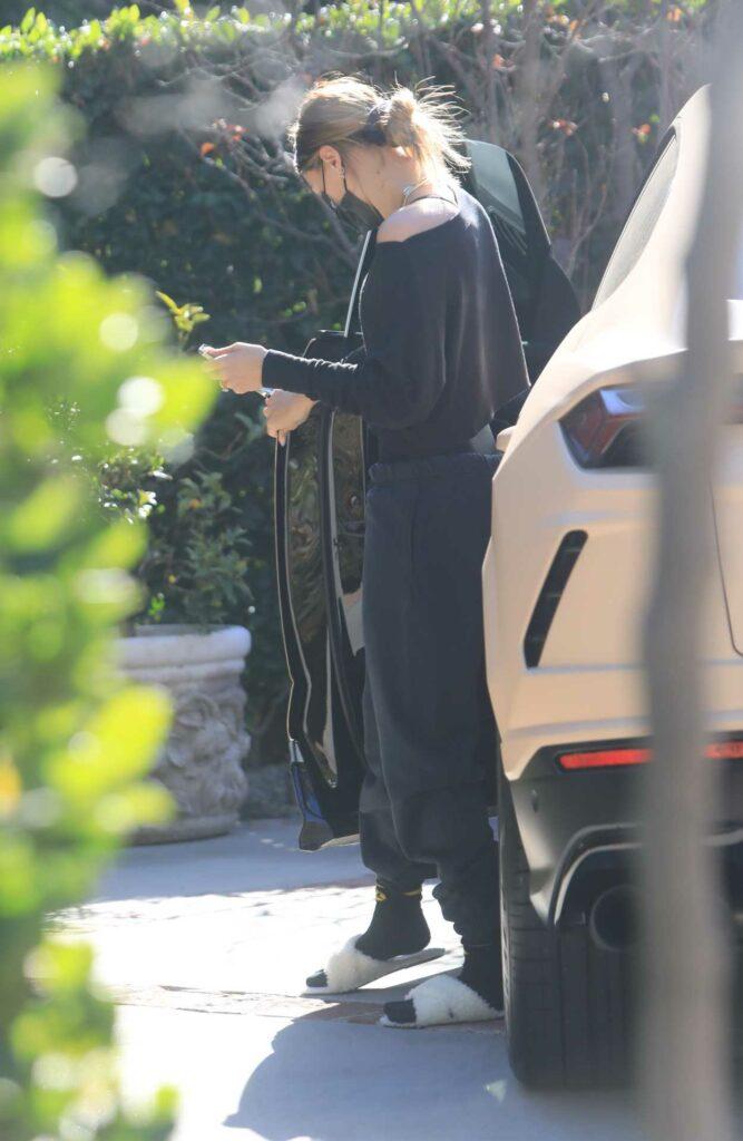 Hailey Bieber in a Black Sweatpants
