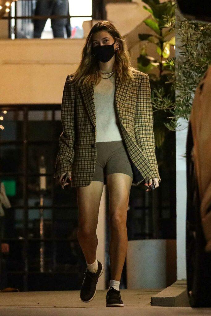 Hailey Bieber in an Olive Plaid Blazer