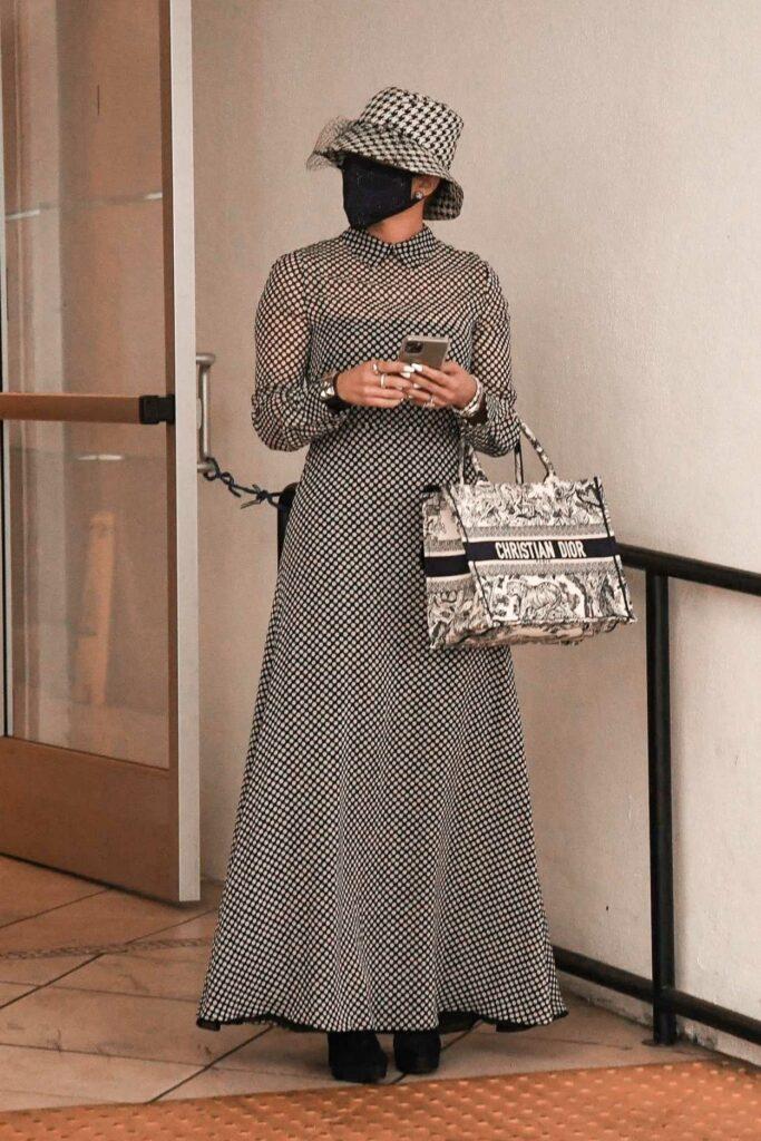 Jennifer Lopez in a Black Protective Mask