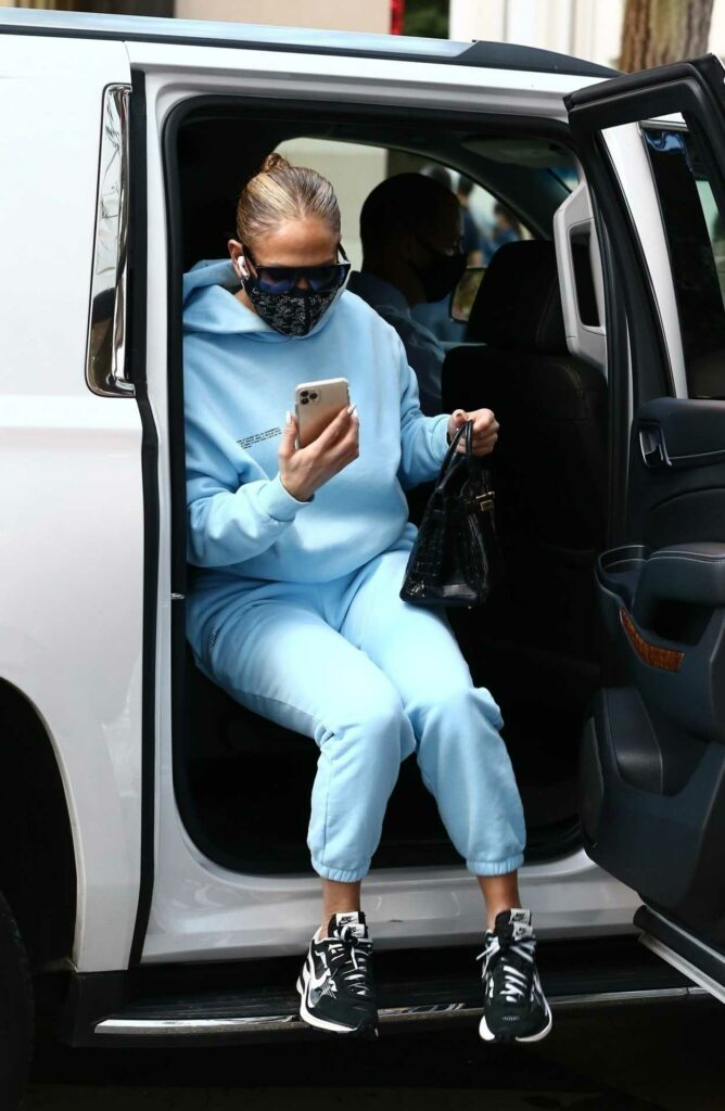 Jennifer Lopez in a Light Blue Sweatsuit