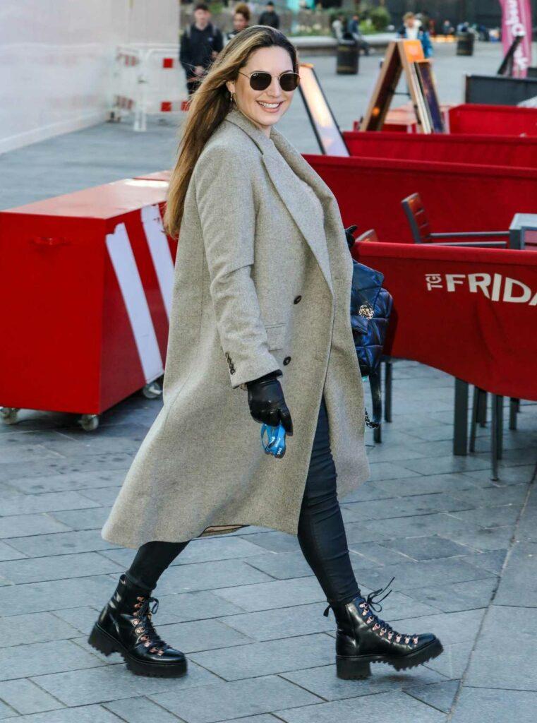 Kelly Brook in a Grey Coat