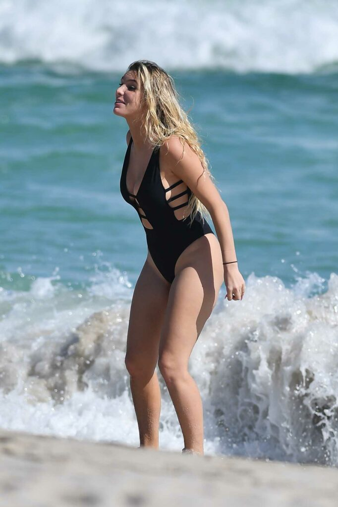 Lele Pons in a Black Swimsuit