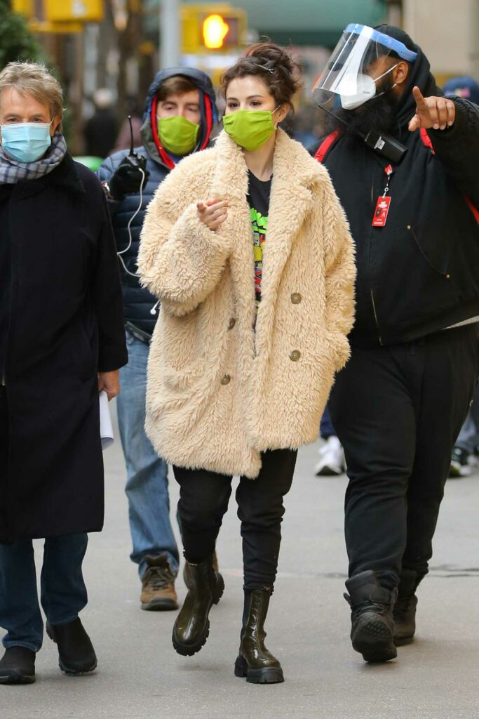 Selena Gomez in a Green Protective Mask