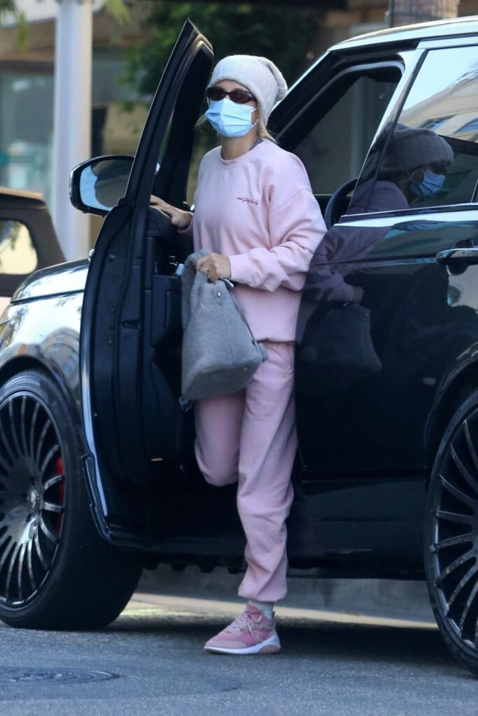 Sofia Richie in a Pink Sweatsuit