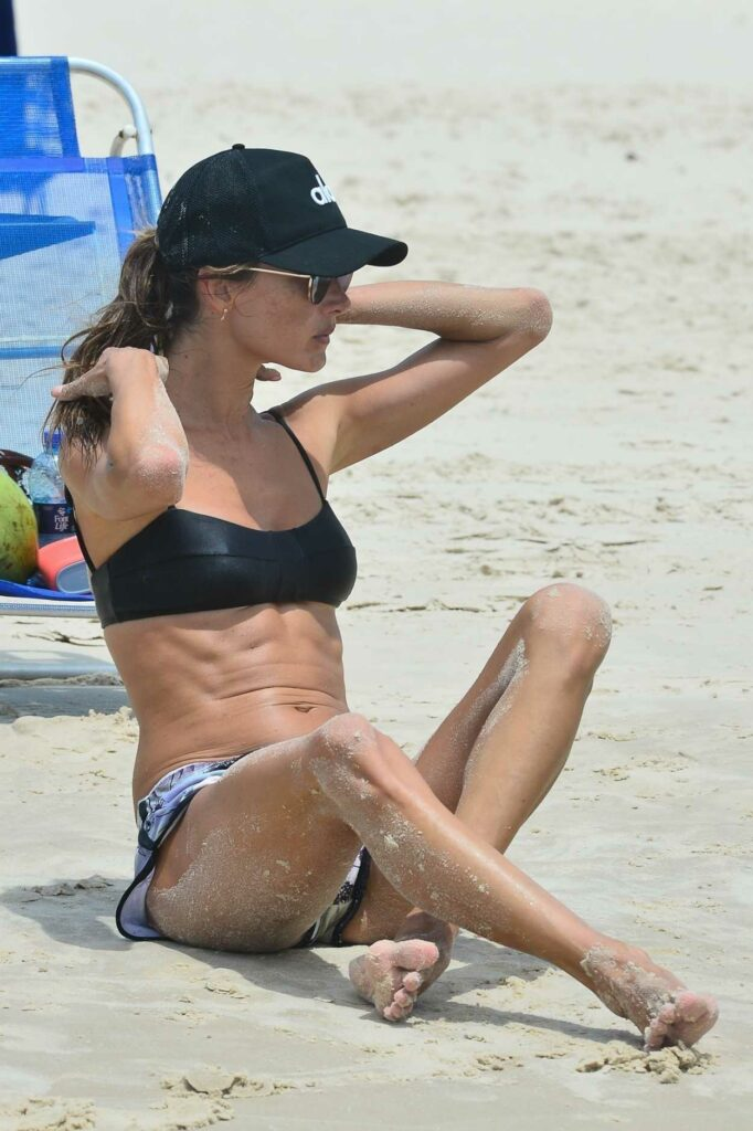 Alessandra Ambrosio in a Black Bikini