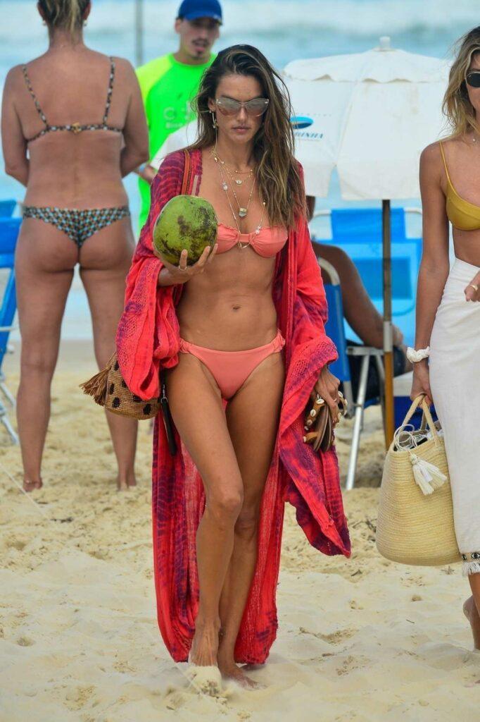 Alessandra Ambrosio in a Tiny Pink Bikini