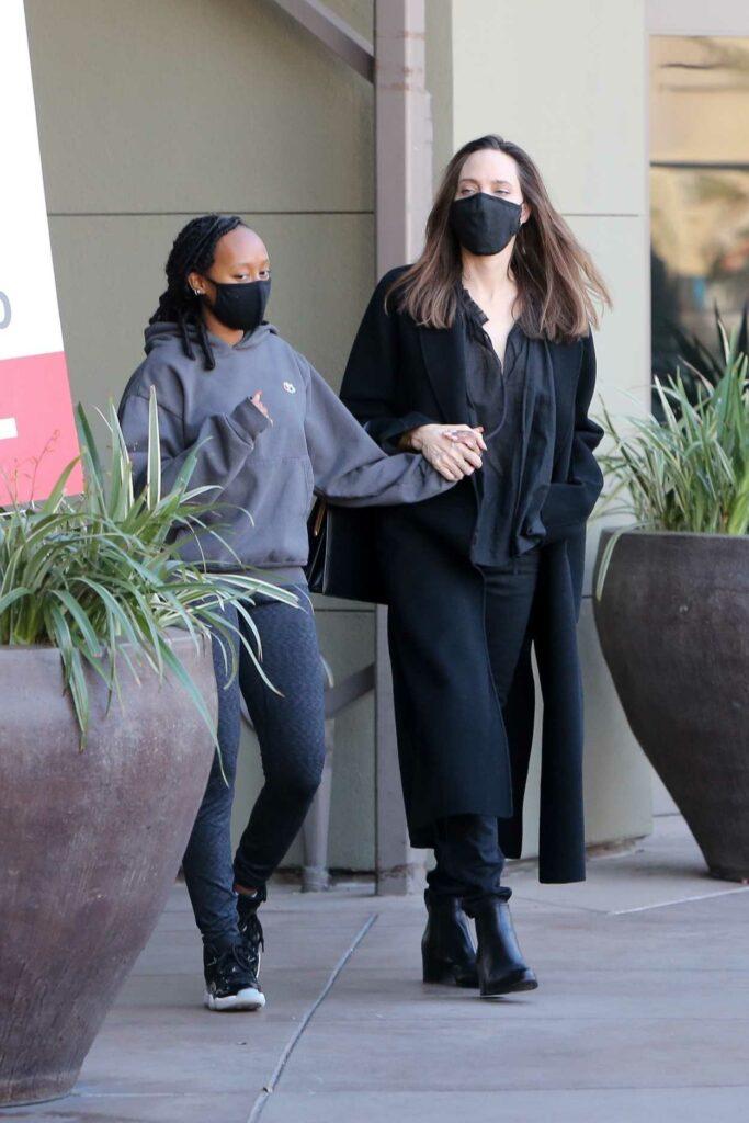 Angelina Jolie in a Black Coat