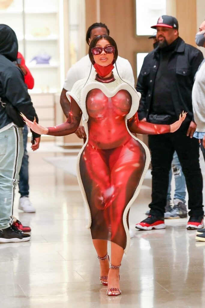 Cardi B in a Red Form Fitting Dress