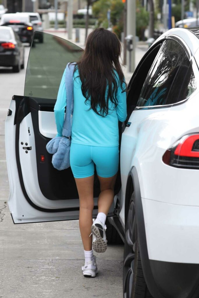 Chantel Jeffries in a Light Blue Alo Yoga Outfit