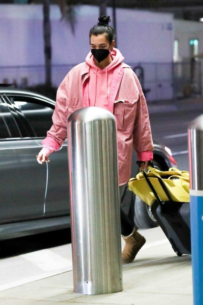 Dua Lipa in a Pink Hoodie