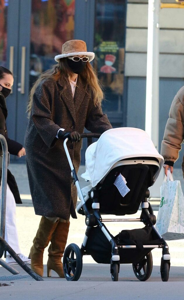 Gigi Hadid in a Black Protective Mask