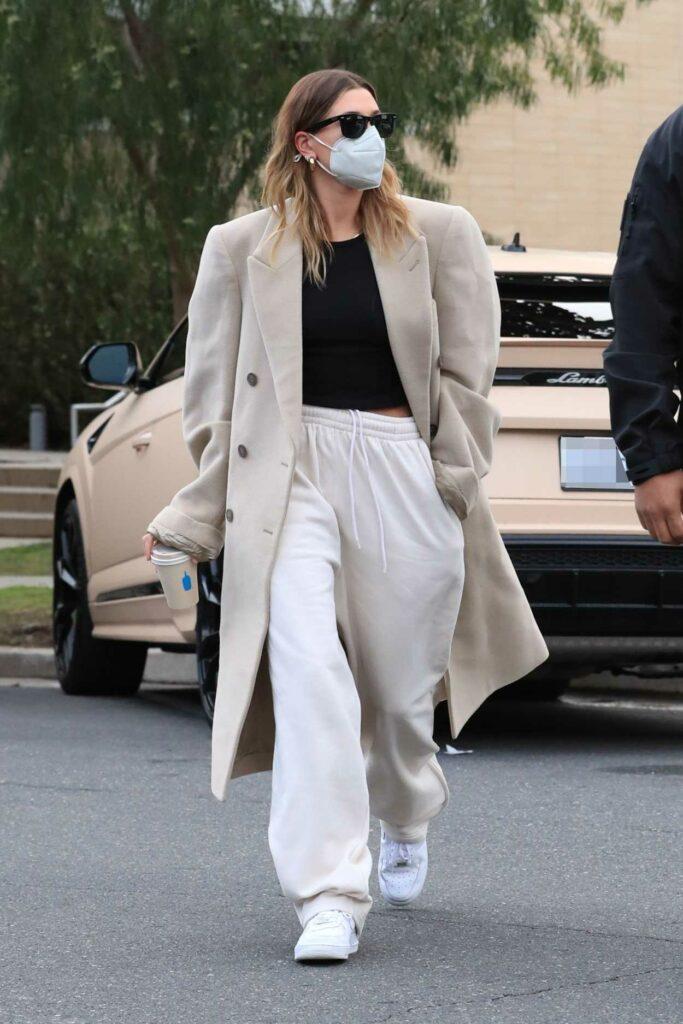 Hailey Bieber in a Beige Oversized Coat