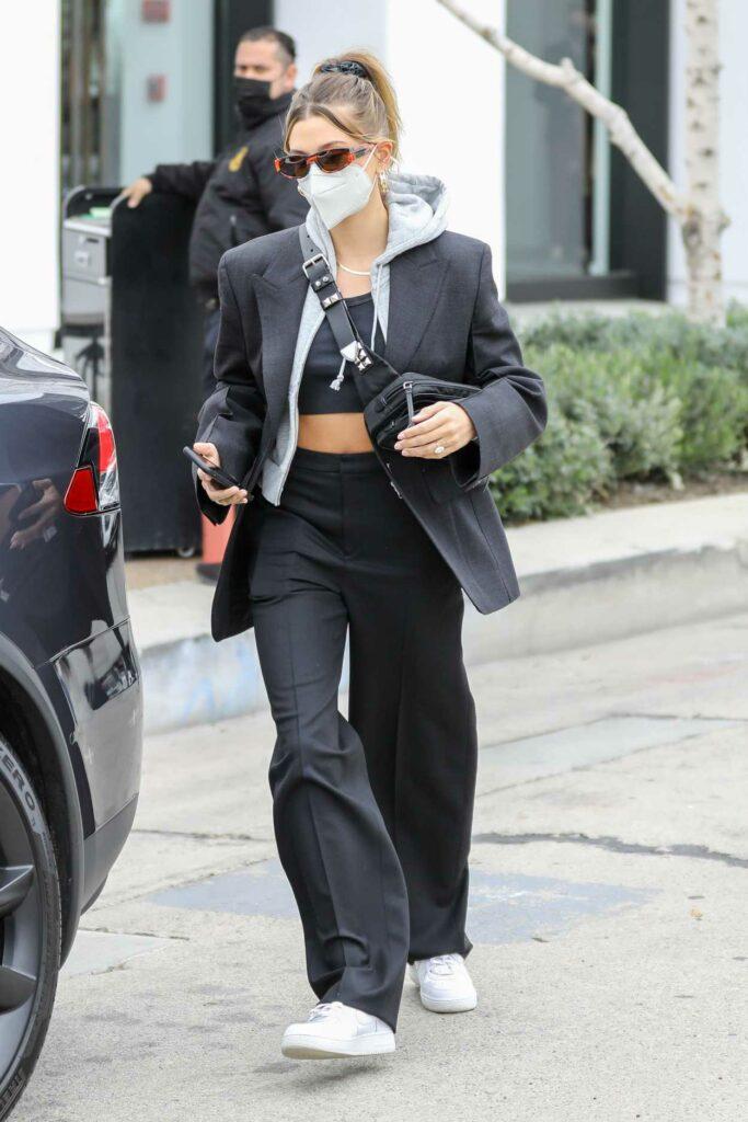 Hailey Bieber in a Black Pantsuit