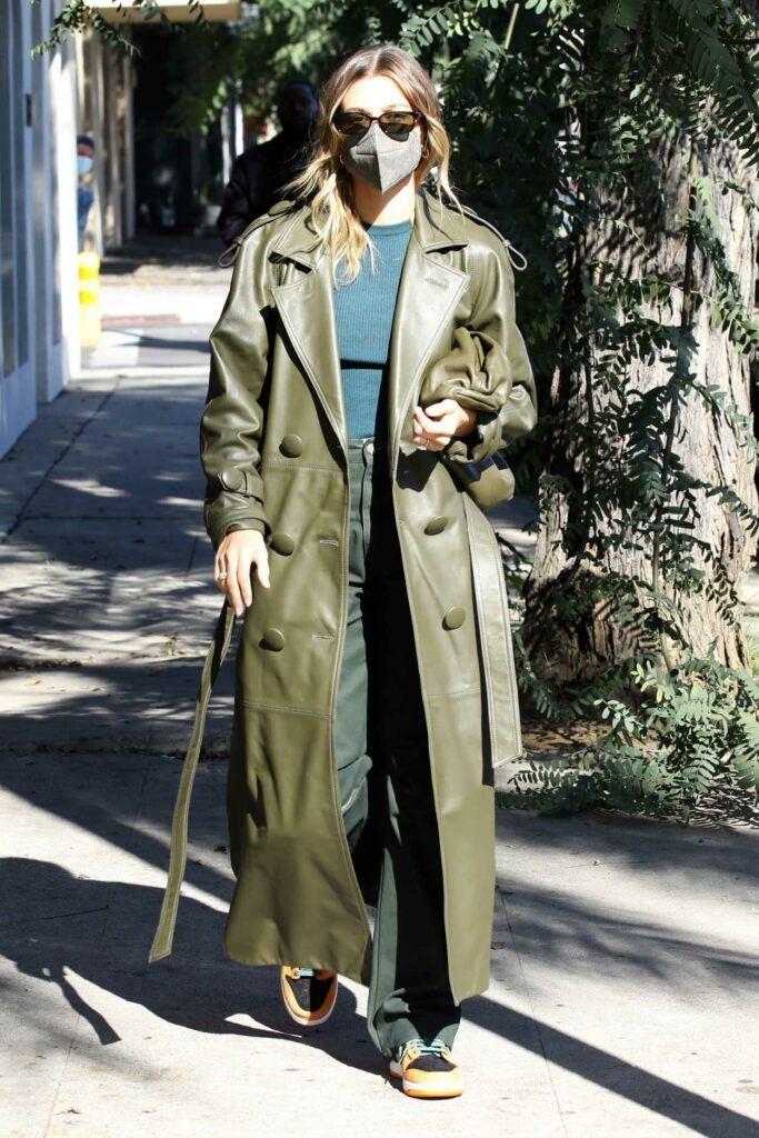 Hailey Bieber in an Olive Leather Coat