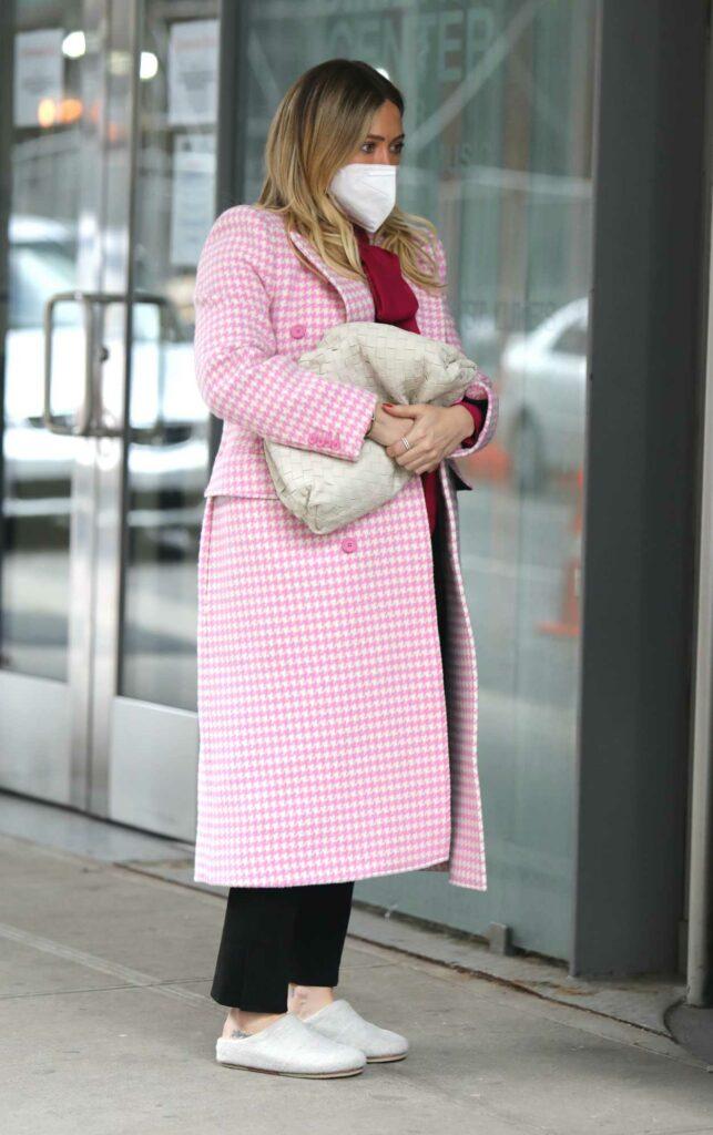 Hilary Duff in a Pink Coat