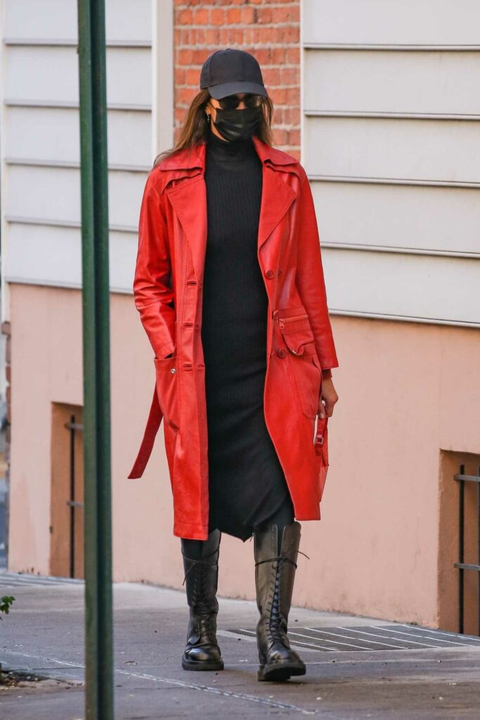 Irina Shayk in a Red Leather Coat