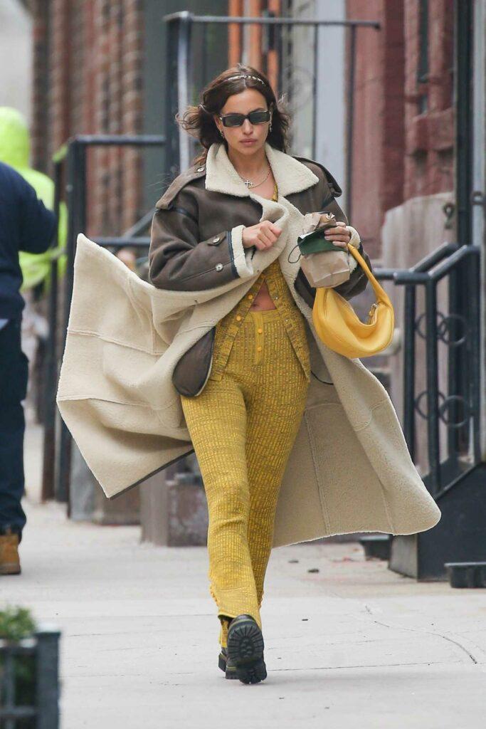 Irina Shayk in a Yellow Pantsuit