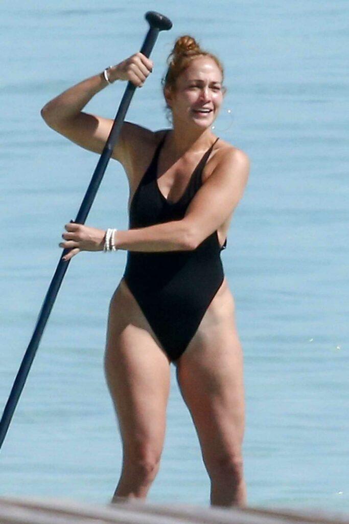 Jennifer Lopez in a Black Swimsuit