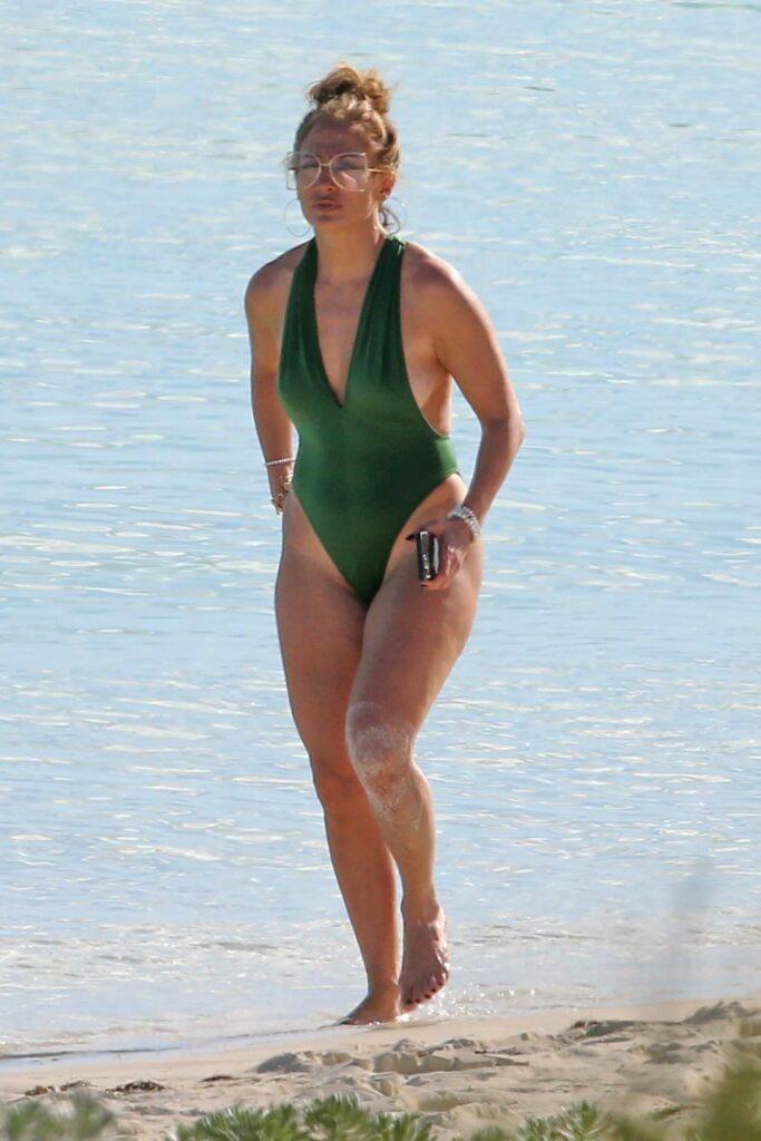 Jennifer Lopez in a Green Swimsuit