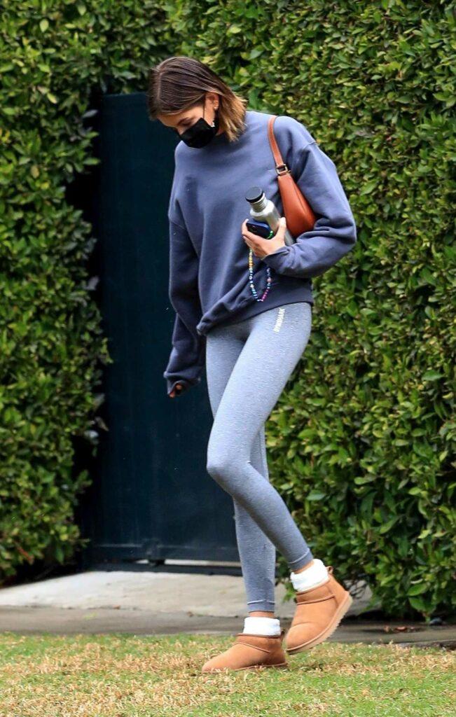Kaia Gerber in a Grey Leggings