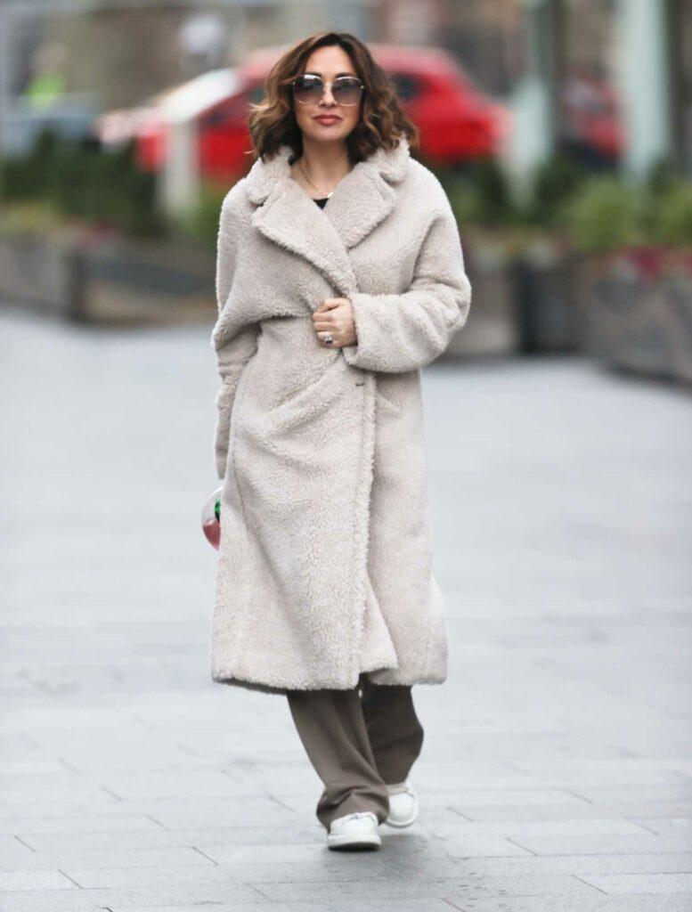 Myleene Klass in a Beige Faux Fur Coat