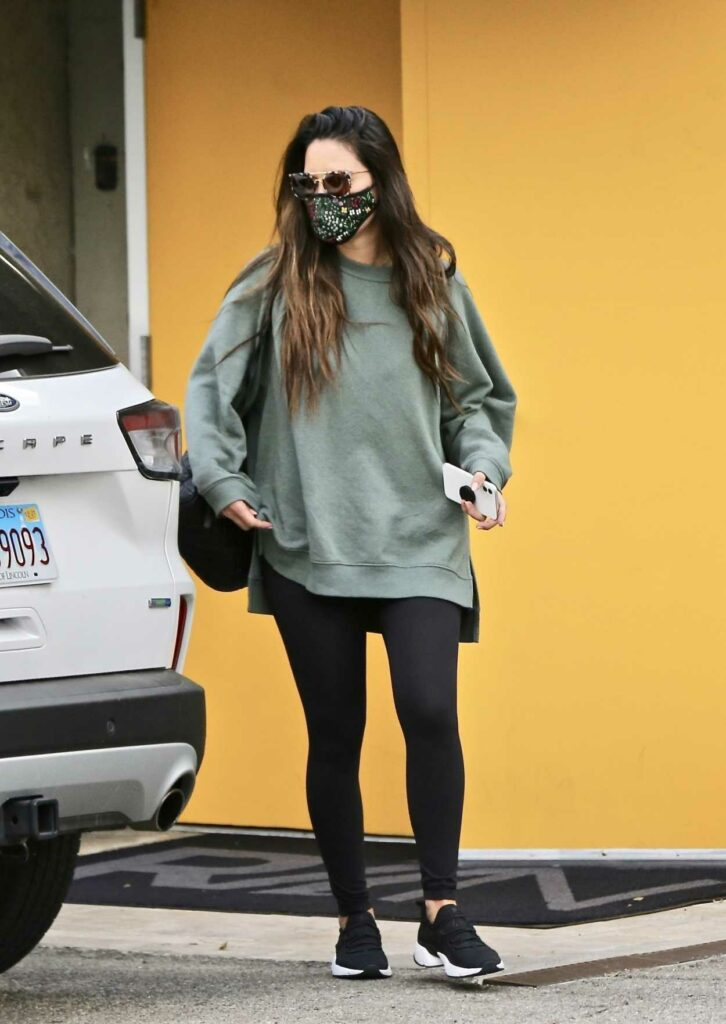 Olivia Munn in an Olive Sweatshirt